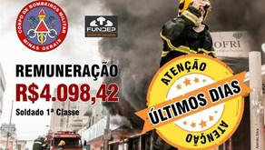 500 vagas Corpo de Bombeiros de Minas Gerais - Inscrições até amanhã (27/11)