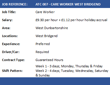ATC 007 CARE WORKERS WEST BRIDGEND