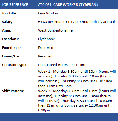 ATC 021 CARE WORKER CLYDEBANK PART TIME