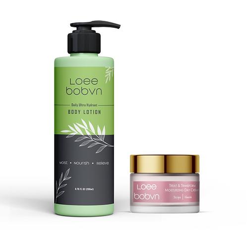 Treat & Transform moisturizing day cream and Ultra hydrant body lotion com