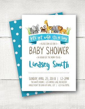 Jungle Baby Shower Invitation - Aqua