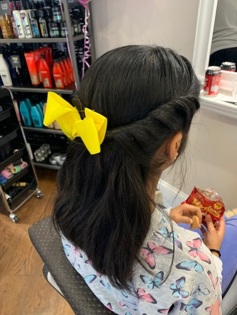 girl, hair, bow, yellow, mirror, redkin, food, colour