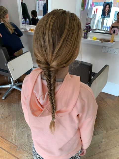 Fishtail, Plait, Fishtailplait, Pink, Hair, chair, mirrors, neat, updo, plaits, little girl, redkin, colour