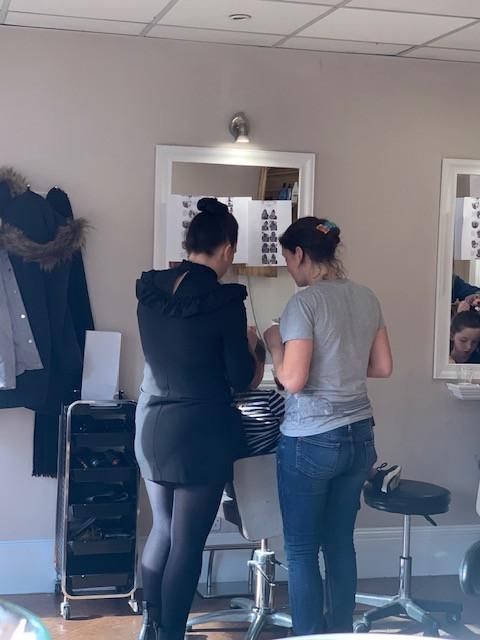 Talking, gathering, mum, salon, hairdresser, mirror, practicing, practice, hair, plait, updo
