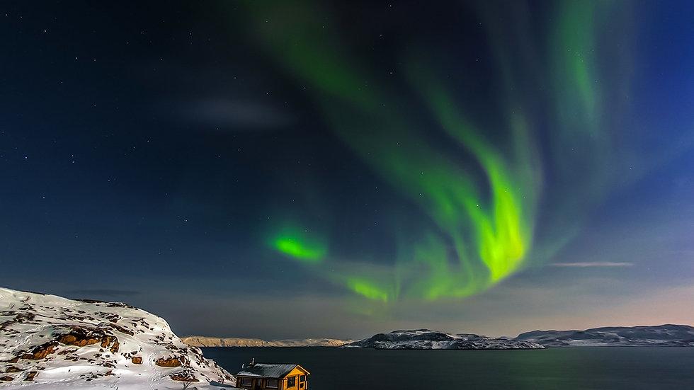 RUSIA,  Aurora boreal en la tundra ártica