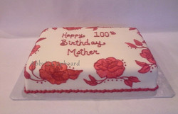 Red roses brush embroidered cake