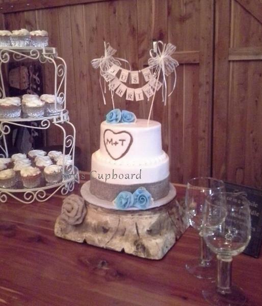 rustic 2 tier Bride's cake 9_6_14