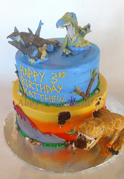 Dinos eating cake 3_25_17
