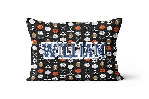WS Sports on Black Pillowcase