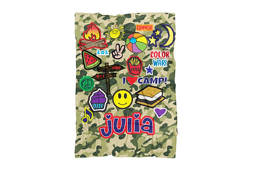 "Camo Camp Patches Standard Sized Blanket (50""x60"")"