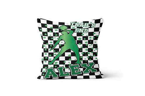 "WS Checkered Radial Camp Basketball 16"" x 16"" Throw Pillow Cover"