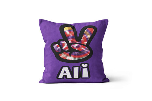 """WS Tie Dyed Peace 16""""x16"""" Throw Pillow Cover"""
