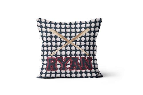 "WS Baseballs & Bats 16""x16"" Throw Pillow Cover"