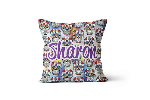 "Colorful Skulls 16""x16"" Throw Pillow Cover"