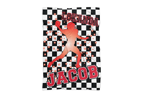 "WS Checkered Radial Camp Football X-Large Sized Blanket (60""x80"")"
