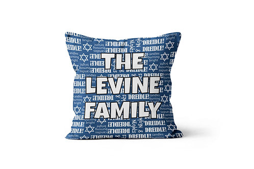 "Hanukkah Print 16""x16"" Throw Pillow Cover"