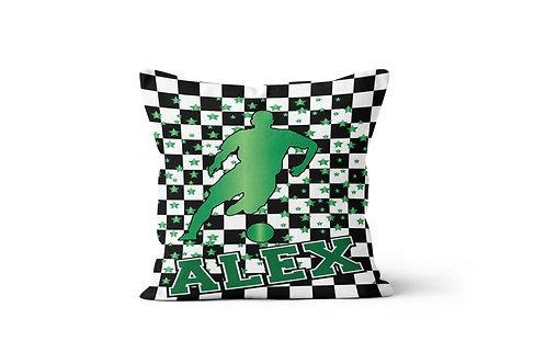 "WS Checkered Radial Boys Soccer 16"" x 16"" Throw Pillow Cover"