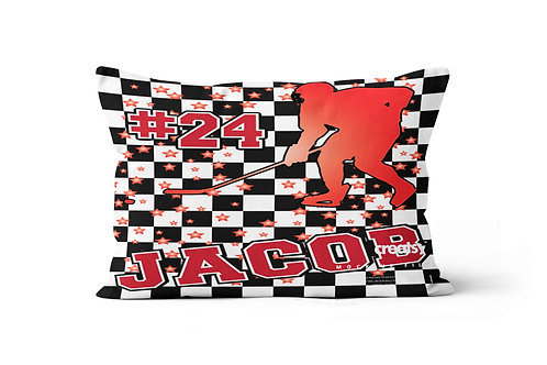 WS Checkered Radial Hockey Pillowcase