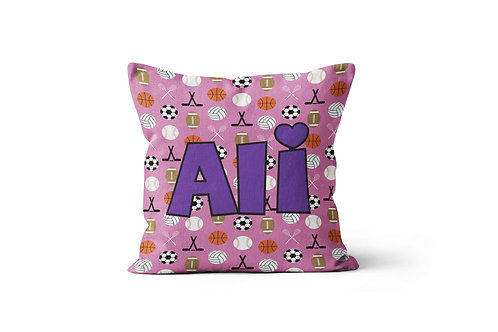 """Sports on Pink 16""""x16"""" Throw Pillow Cover"""