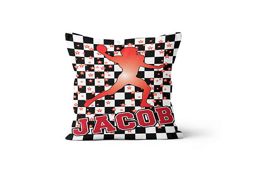 "WS Checkered Radial Football 16"" x 16"" Throw Pillow Cover"