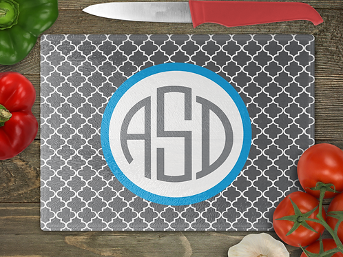 "15"" x 11"" Moroccan with a Circle Monogram Cutting Board"
