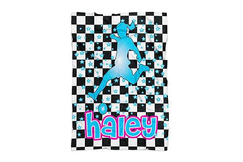 "WS Checkered Radial Soccer Girls Standard Sized Blanket (50""x60"")"