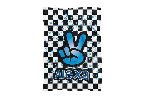 "WS Checkered Radial Peace X-Large Sized Blanket (60""x80"")"