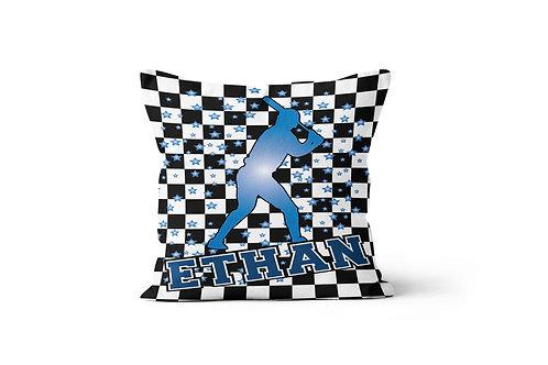 "WS Checkered Radial Baseball 16"" x 16"" Throw Pillow Cover"