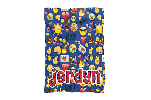"Camp BFF Emojis Extra Large Sized Blanket (60""x80"")"