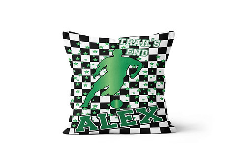 "WS Checkered Radial Camp Boys Soccer 16"" x 16"" Throw Pillow Cover"