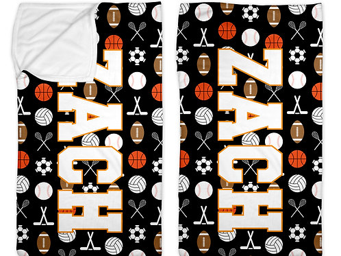 "Sports on Black 30"" x 50"" Sleep Sack"