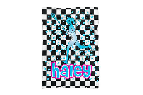 "WS Checkered Radial LAX Girls Standard Sized Blanket (50""x60"")"