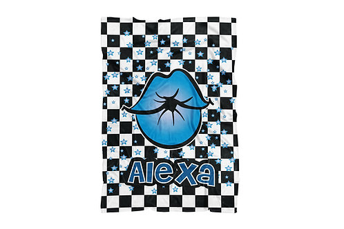 "WS Checkered Radial Kiss Lips X-Large Sized Blanket (60""x80"")"