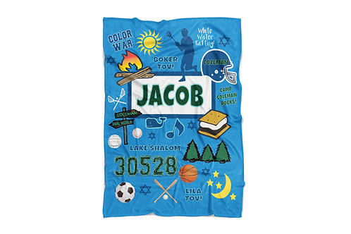 """Jewish Camp Personalized Super Soft Blanket for Boys (60""""x80"""")"""