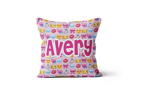 "Girly Emojis 16""x16"" Throw Pillow Cover"
