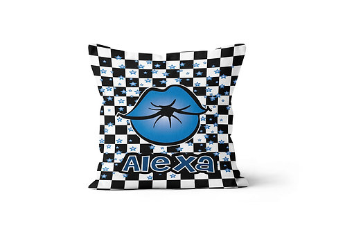 """Checkered Radial Kiss Lips 16"""" x 16"""" Throw Pillow Cover"""