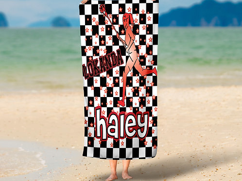Checkered Radial Camp LAX Girls Towel