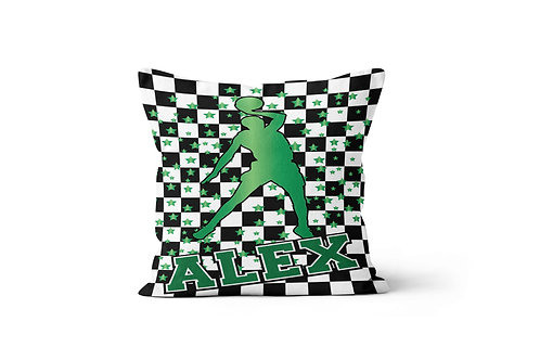 "Checkered Radial Basketball 16"" x 16"" Throw Pillow Cover"