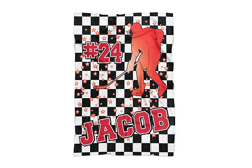 "WS Checkered Radial Hockey Standard Sized Blanket (50""x60"")"
