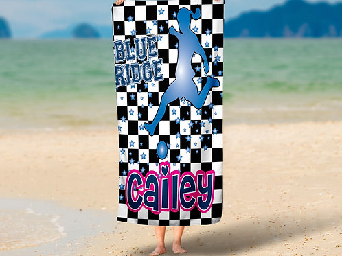 Checkered Radial Camp Soccer Girl Towel
