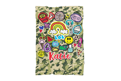 "Camo Fun Patches Extra Large Sized Blanket (60""x80"")"