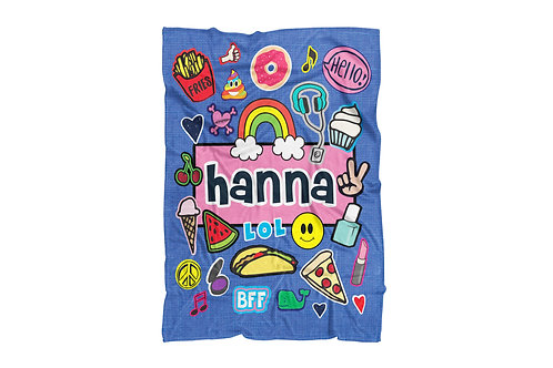 "Denim Fun Patches Extra Large Sized Blanket (60""x80"")"
