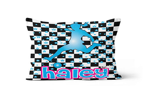 Checkered Radial Girl's Soccer Pillowcase