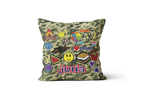 """WS Camo Camp Patches 16""""x16"""" Throw Pillow Cover"""