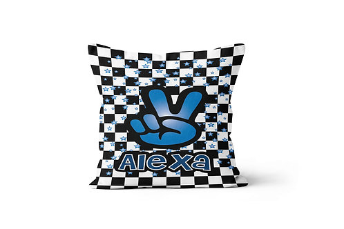 """WS Checkered Radial Peace 16"""" x 16"""" Throw Pillow Cover"""