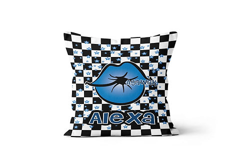 "WS Checkered Radial Kiss My Camp 16"" x 16"" Throw Pillow Cover"