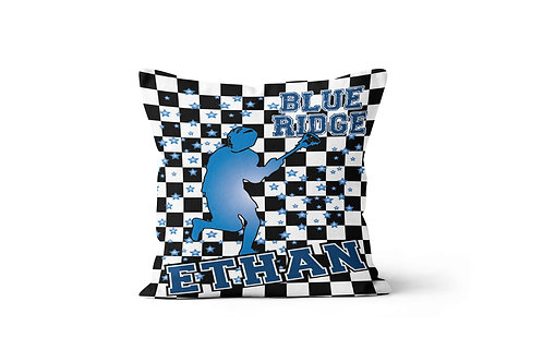 """WS Checkered Radial Camp Boys LAX 16"""" x 16"""" Throw Pillow Cover"""