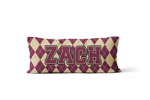 College Colors Argyle Body Pillowcase