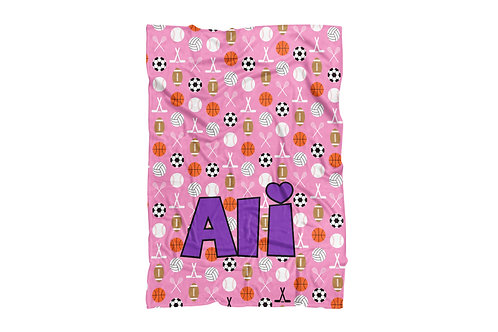 "Sports on Pink Baby &Toddler Blanket (30""x40"")"