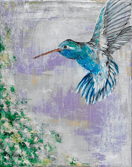 """Whimsical Hummingbird"" matted 8""x10"" Fine Art Print"